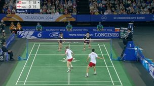 England and Malaysia badminton teams during final