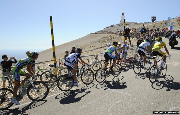 Cyclists upon arrival at Mont Ventoux for the Tour de France in 2009