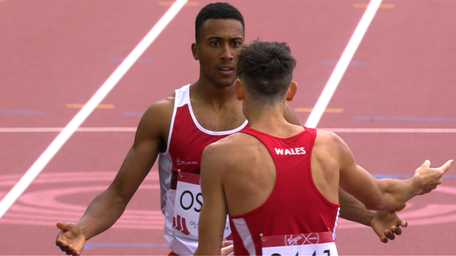 England's Andrew Osagie argues with Welshman Joe Thomas