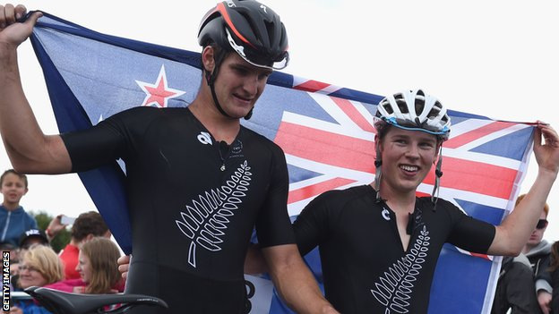 Anton Cooper (right) and Samuel Gaze celebrate New Zeland's one-two in the mountain biking cross-country
