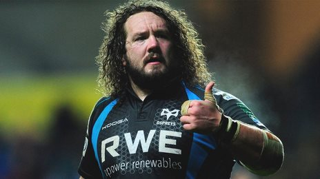 Adam Jones gives the thumbs up during an appearance for Ospreys