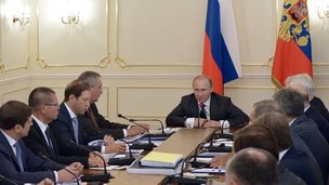 President Vladimir Putin with Russian defence chiefs, 28 Jul 14