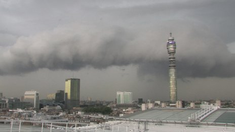 Storm clouds across London