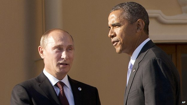 In this Sept. 5, 2013 file photo, President Barack Obama shakes hands with Russian President Vladimir Putin during arrivals for the G-20 summit at the Konstantin Palace in St. Petersburg, Russia, Thursday, Sept. 5, 2013