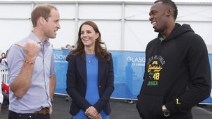 Prince William, the Duchess of Cambridge and Usain Bolt