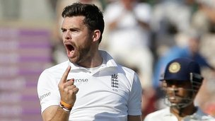England's James Anderson celebrates a wicket
