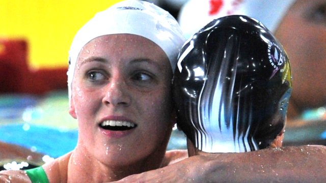 Wales swimmer Jazz Carlin congratulates  New Zealand's Lauren Boyle
