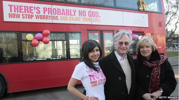 Dawkins, shown with blogger Ariane Sherine and the Guardian's Polly Toynbee, in London in 2009