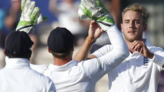 England's Stuart Broad celebrates a wicket
