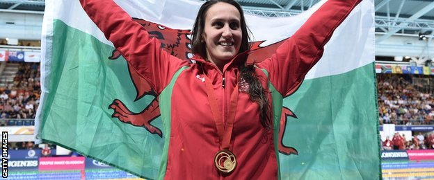 Wales Georgia Davies with her 50m backstroke gold