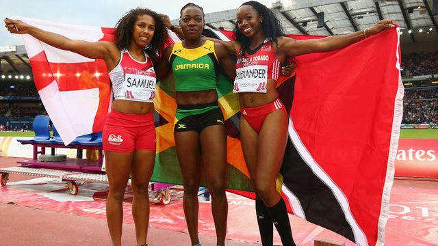 England's Laura Samuel (left), Jamaica's Kimberly Williams (middle) and Trindad & Tobago's Ayanna Alexander (right)