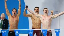 Chris Walker-Hebborn, Adam Barrett and Adam Peaty of England
