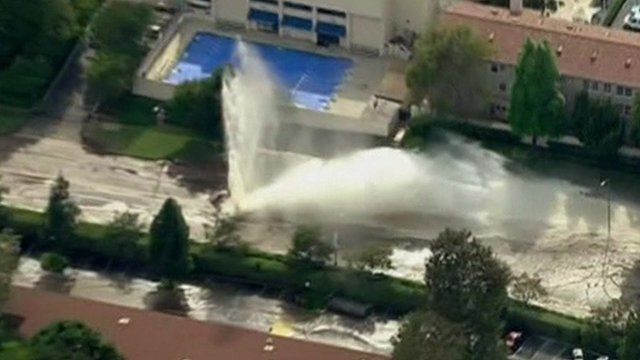 A burst water main on Los Angeles' iconic Sunset Boulevard