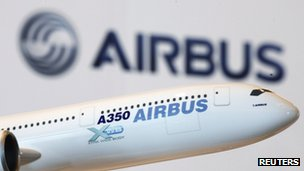 Model of an Airbus A350 passenger
