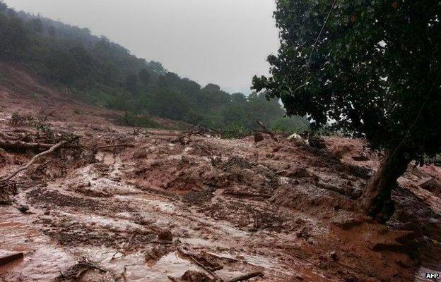 The landslide spot in Pune district, 30 July 2014