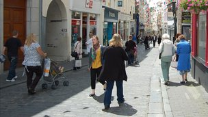 Pedestrians in St Peter Port High Street