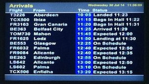 Arrivals board at East Midlands Airport