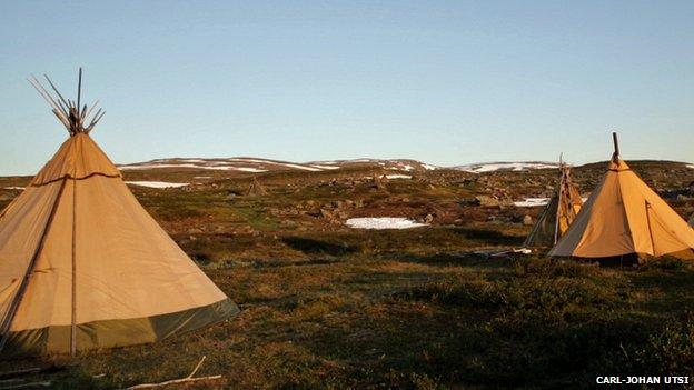 Reindeer herders' tents or lavuts
