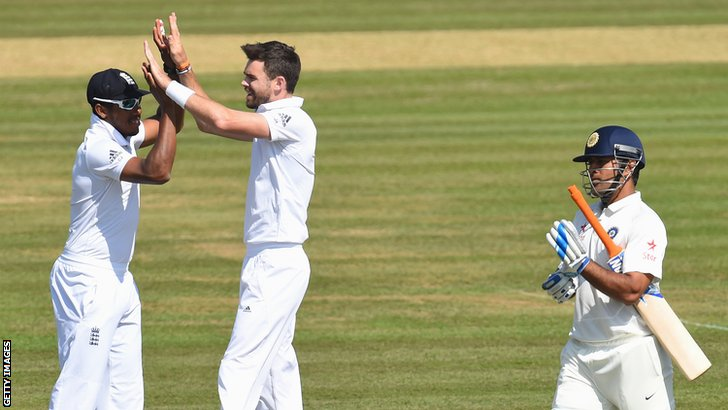 James Anderson celebrates after dismisisng Mahendra Dhoni