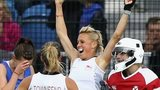 Alex Danson celebrates scoring England's opening goal against Scotland in Glasgow