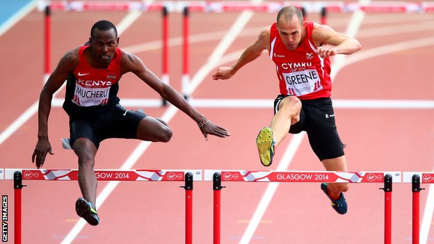 Dai Greene struggled to fifth place in the semi final of the 400m hurdles in Glasgow 2014