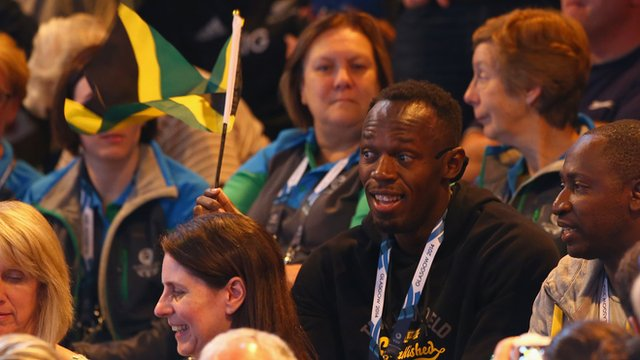 Olympic 100m champion Usain Bolt supports Jamaica's netball side against New Zealand