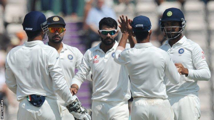 Ravindra Jadeja celebrates the wicket of Gary Ballance
