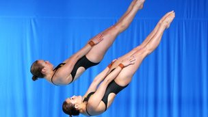 Rachel Bugg and Melissa Wu of Australia compete in the Women's Synchronised 10m Platform Final at Royal Commonwealth Pool during day seven of the Glasgow 2014 Commonwealth Games on 30 July 2014 in Edinburgh