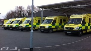 Ambulances queue