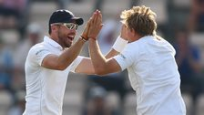 England's James Anderson and Joe Root