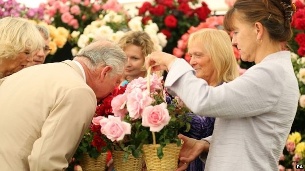 Prince Charles and the Duchess of Cornwall at the Sandringham flower show