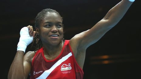 England's Nicola Adams celebrates her quarter-final victory