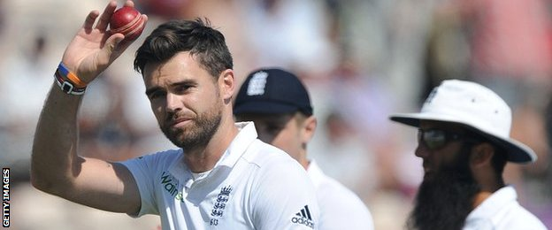 James Anderson celebrates his five-wicket haul