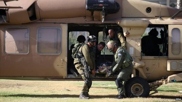 An injured Israeli soldier is airlifted to Soroka Hospital in Beersheba