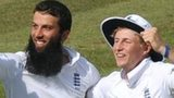 England's Moeen Ali and Joe Root celebrate a wicket