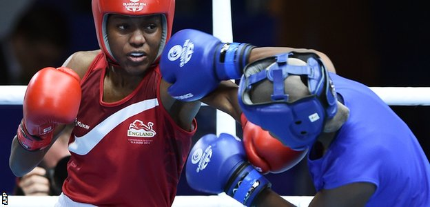 Boxer Nicola Adams of England at the Commonwealth Games in Glasgow