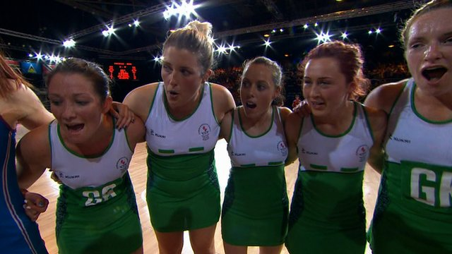 Northern Ireland netball players after their win over Scotland
