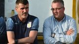 Aston Villa's coaching staff Roy Keane and Paul Lambert
