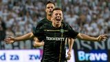 Callum McGregor celebrates after scoring for Celtic against Legia Warsaw