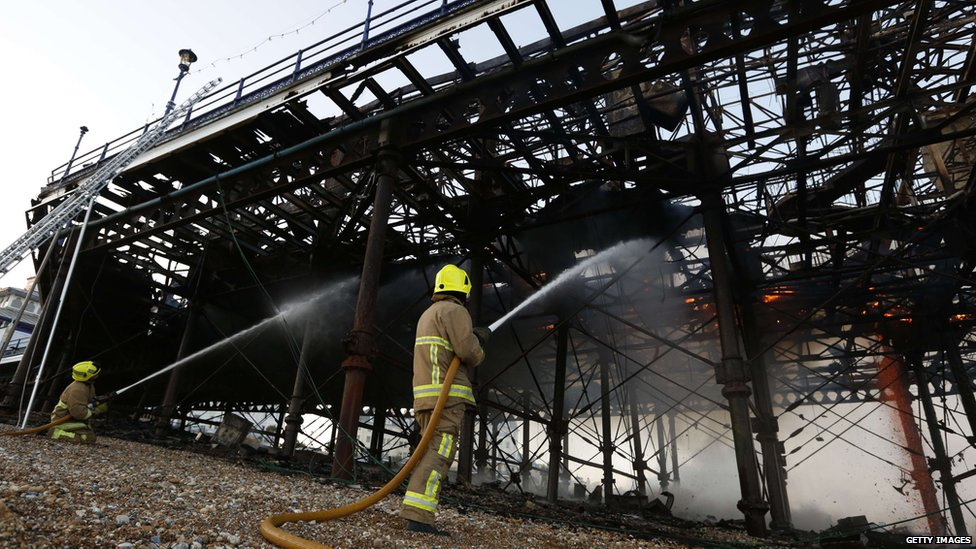 Firefighters at the scene of the Eastbourne Pier blaze