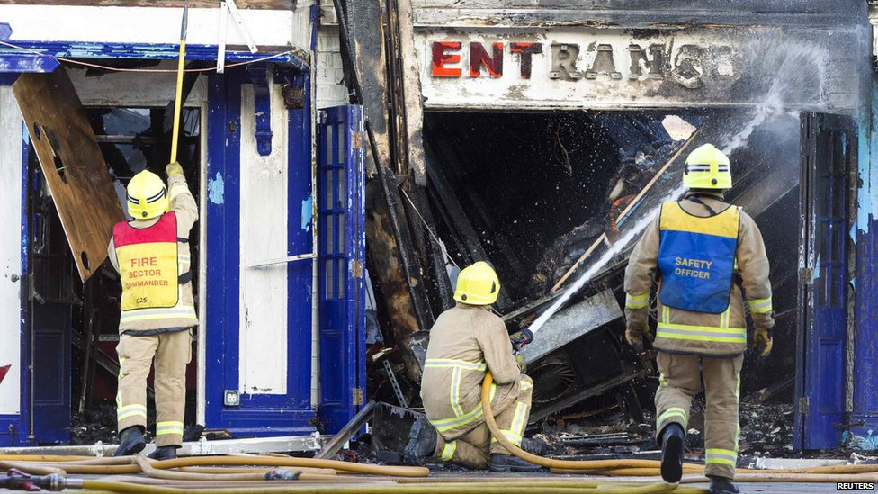 Firefighters at the scene of the Bournemouth Pier blaze