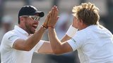 England's James Anderson and Joe Root