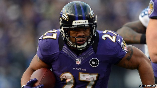 Baltimore Raven running back Ray Rice.