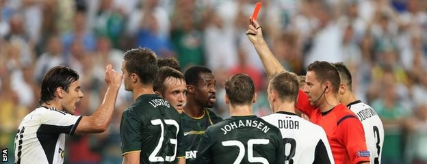 Efe Ambrose was sent off for Celtic in the first half against Legia Warsaw