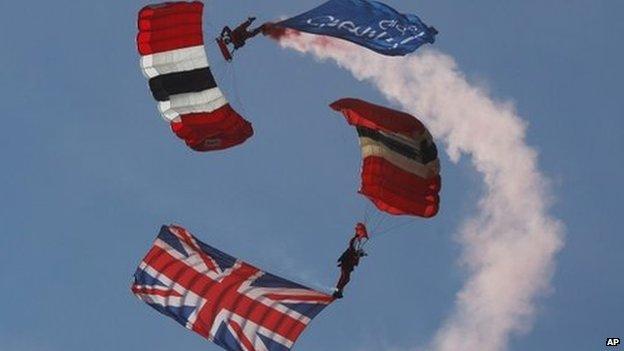 Red Devils Parachute Regiment perform at the Farnborough Air Show