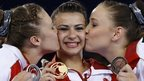 Claudia Fragapane (middle), with Ruby Harrold (left) and Hannah Whelan (right)