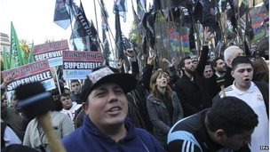 Supporters of  President Cristina Fernandez de Kirchner protest against hedge funds in Buenos Aires