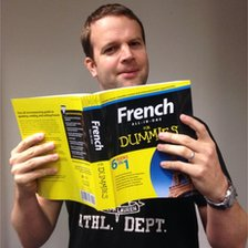 "Salty with ""French for dummies"" book"