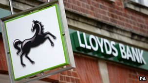 A general view of a sign for Lloyds Bank.