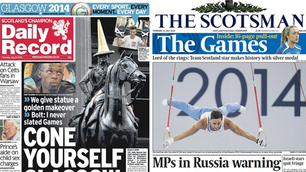 Front pages 31 July